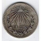 Moneda Mexicana Plata Ley 720 Resplandor Un Peso 1922 P4y1
