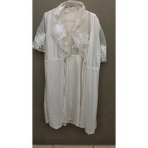 Camisola Curta C/ Robe Penhoar Branco Cetim Seda Renda