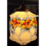 Lustre Ou Luminária Pendente Antiga Em Vidro Azul Com Flores