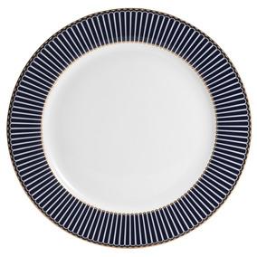 Conjunto 6 Pratos De Jantar De Porcelana Alto Relevo Cobalto
