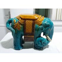 Grande Elefante Em Porcelana Chinesa Azul Turquesa