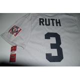 Playera Mlb New York Yankees Babe Ruth Vintage Gris Plata