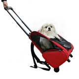 Mochila Bolsa Rodas Transporte Passeio Caes Gato Pet Dog Bag