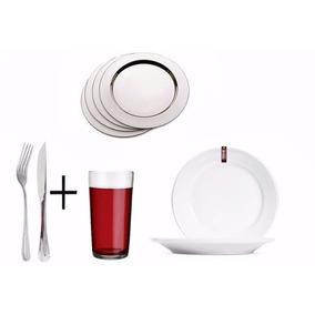 Kit Buffet P/30 Pessoa + Copo + Talheres + Sousplat + Prato