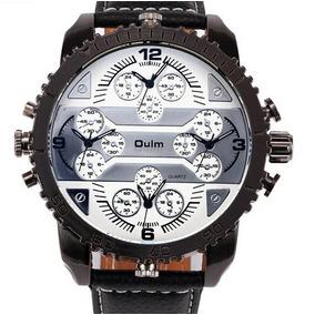 8049b386161 Relógio Oulm Oversize Pulseira Couro Frete Grátis !!! - Relógios De ...