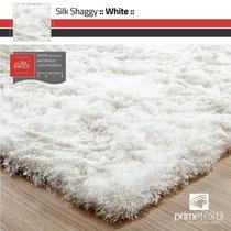 Tapete Sala Silk Shaggy Fio De Seda Branco Pérola 200x250