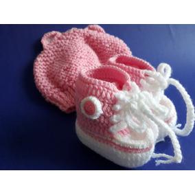 Sapatinho De Bebê All Star Em Lã Com Touca De Ursinha