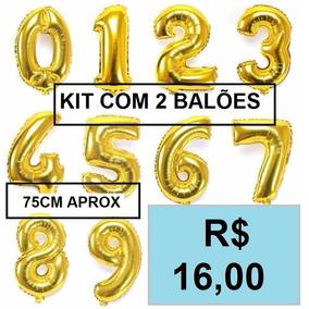 Balão Metalizado De Numero Ou Letra 75cm (2 Unidades)