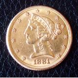 Moneda De 5 Dolares De Oro Año 1881 Usa