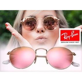 ray ban round metal espelhado rose- rb 3447
