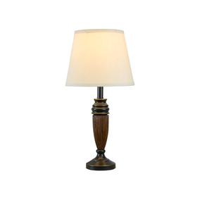 Lámpara De Mesa Clásica 1 Luz Cubierta De Tela Oro Cepillado