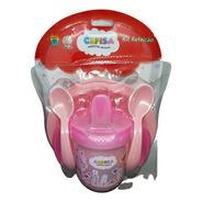 Kit Refeição 4 Pçs Prato Talheres Copo Com Tampa Bico Bebê