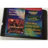Cartucho Sega 3 En 1 Tortuga Ninjas Ranas Indiana Jones