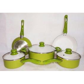 Jogo De Panelas 5pcs Cerâmica Fundo Indução Verde