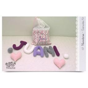 Cartel Bienvenida Nacimiento De Bebé Tejido Crochet 5 Letras