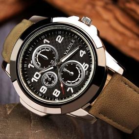 Kit 3 Relógios Masculinos Casual Pulseira De Couro
