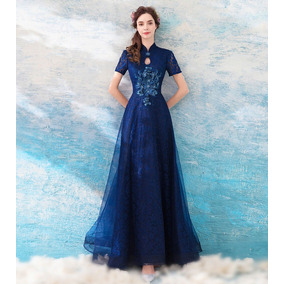 Vestido Debutante Azul Marinho 34 36 38 40 42 44 46 Va00201