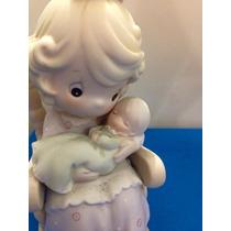 Precious Moments Porcelana Mamá Meciendo Al Bebe