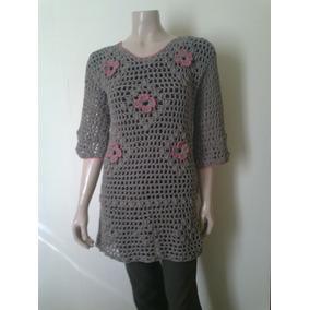 Vestido Camisola Remerón Con Mangas Crochet Hilo Mujer