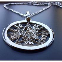 Cadena, Dije De Tetragramaton Pentagrama 38mm En Plata.925