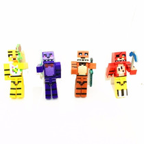 Kit Com 4 Bonecos Five Night At Freddy Estilo Minecraft