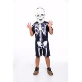 Fantasia Esqueleto Caveira Infantil Halloween Dia Das Bruxas