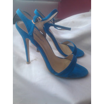 Sandalias Tacones Altos De Dama Femini Azul Talla 39