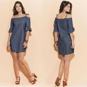 015454fdf Vestido Simples - Vestidos Curtos Femininas Azul no Mercado Livre Brasil
