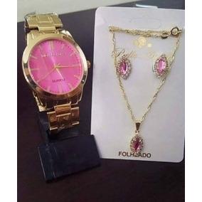 Relógio Feminino Dourado + Kit Colar E Brinco Foliado