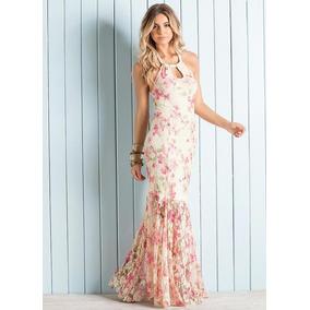 Vestido Modelo Sereia Todo Em Renda Estampa Floral Festa