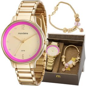 Kit Relógio Mondaine Feminino Com Pulseira 53567lpmvde1k1