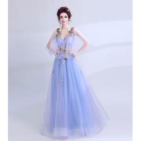 Vestido De Noiva - Azul - 34 36 38 40 42 44 46 - Va00170