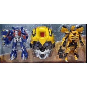 Kit Transformers Filme Optimus Prime, Bumblebee + Mascara