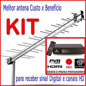 Kit Tv Digital Hdtv Conversor + Antena Externa P/ Canais Hd