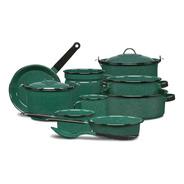 Batería De Cocina Clásica De Peltre 12 Piezas Verde Cinsa