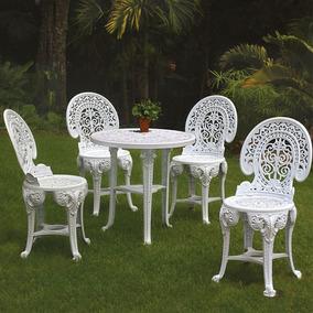 Jogo De Mesa E 4 Cadeiras Plásticas Colonial Branca