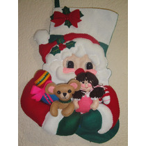 Bota Fieltro Navideña Santa Claus Con Juguetes