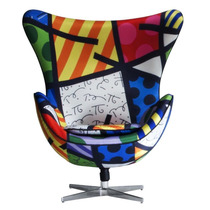 Poltrona Daf Egg Com Base Original Cole??o Romero Britto