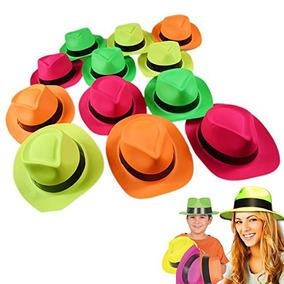 Neón Plástico Gangster Sombreros - 24 Pack - Vestir De Jugu