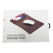 Mouse Pad Simil Cuero Con Carga Inalámbrica 5w
