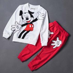 Conjunto Infantil Minnie Mickey Mouse Rosa Roupa De Frio