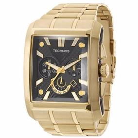 Relógio Technos Masculino Dourado Quadrado Multifunção