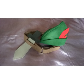 Chapéu Do Peter Pan Em Feltro E Cinto Com Espada Em E.v.a