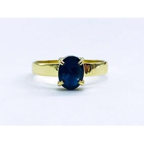 Precioso Anillo Para Dama Con Zafiro Azul 2.2gr De Oro 10 K