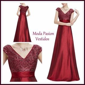 Vestido Fiesta Gala Tafeta Lentejuelas Madrinas Moda Pasión