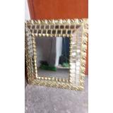Antiguo Espejo De Madera Cedro De Color Pan De Oro