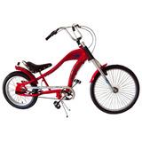 Bicicleta Aro 26/24 Chopper 3 Marchas Preta/vermelha