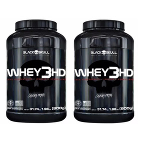 Kit 2x Whey Protein 3hd Caveira Preta (900g) - Black Skull