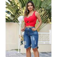 Bermuda Feminina  Sol Jeans Pluz Size Rasgada Com Lycra Azul