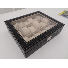 Caixa Estojo Porta 18 Relógios C/ Chaves Organizador Luxo